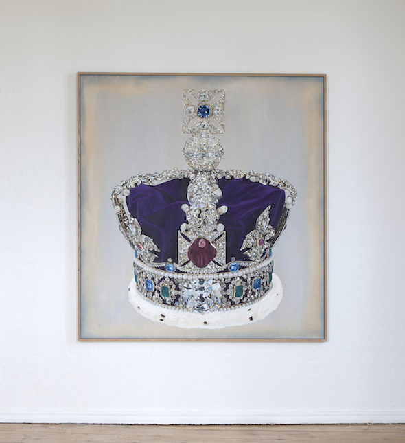Lars Bjerre, The Robbery (The Imperial State Crown), 2015, oil, pigment & spray on canvas. 161 x 150 cm. Oak frame (164 x 154 x 4 cm). Image courtesy of the artist